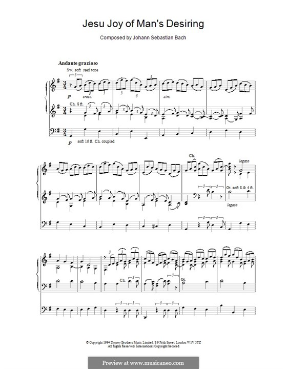 Jesu, Joy of Man's Desiring (Printable Scores): For organ by Johann Sebastian Bach