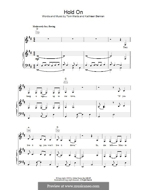 Hold On By K Brennan T Waits Sheet Music On Musicaneo