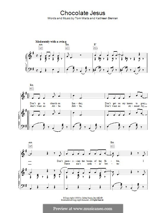 Chocolate Jesus By K Brennan T Waits Sheet Music On Musicaneo