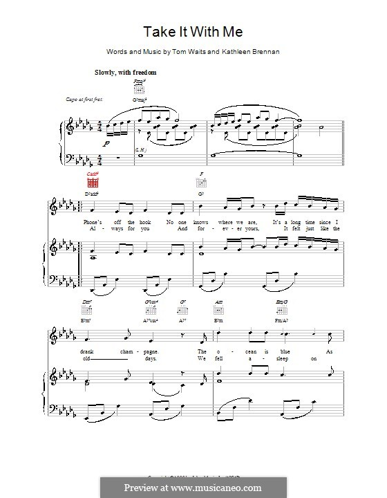 Take It With Me By K Brennan T Waits Sheet Music On Musicaneo