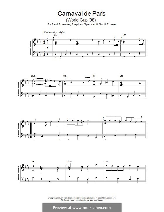 Carnaval de Paris (World Cup '98): For piano by Paul Spencer, Scott Rosser, Stephen Spencer