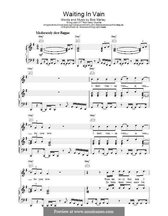 Waiting in Vain: For voice and piano (or guitar) by Bob Marley