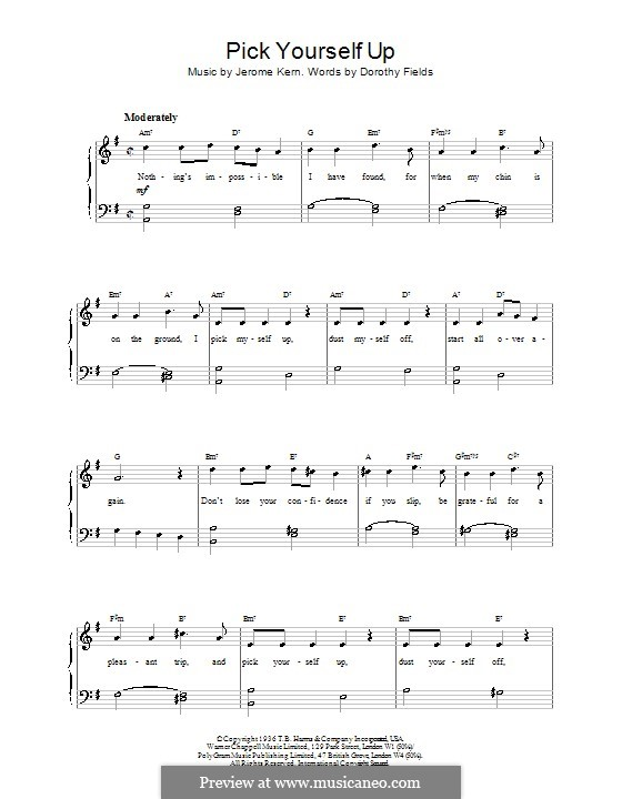 Pick Yourself Up: For easy piano by Jerome Kern