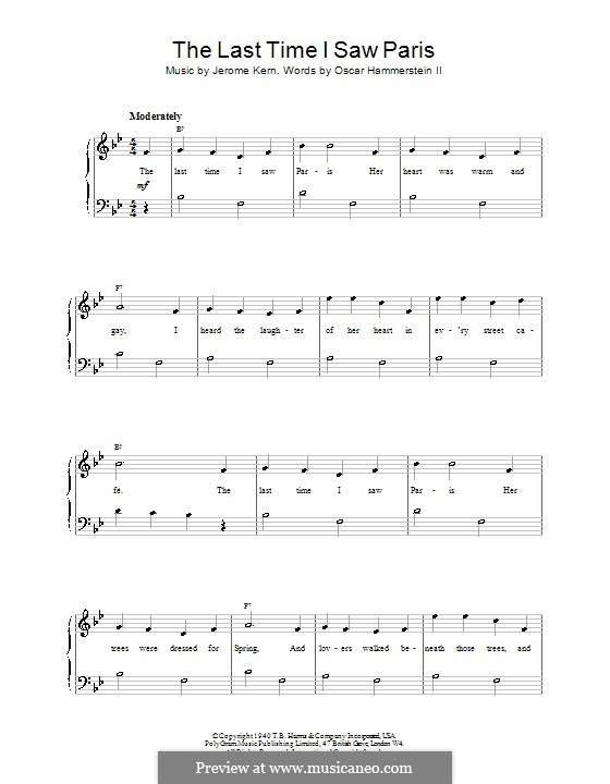 The Last Time I Saw Paris: For easy piano (Frank Sinatra) by Jerome Kern