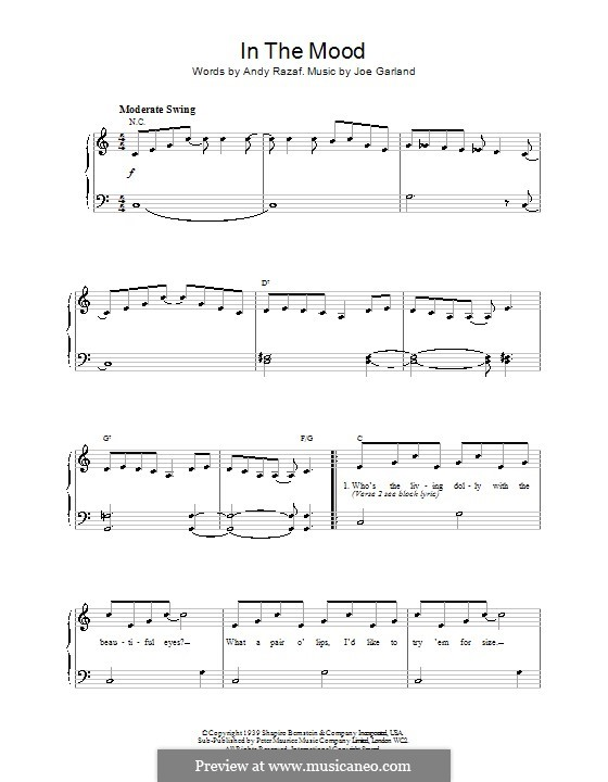 In the Mood (Glen Miller): For easy piano by Joe Garland