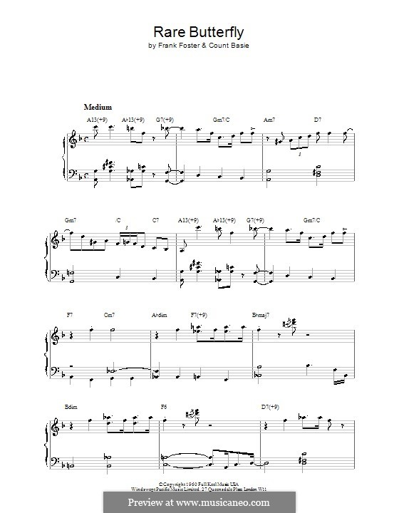 Rare Butterfly (Count Basie): For easy piano by Frank Foster
