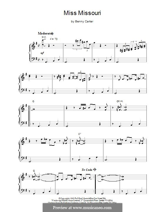 Miss Missouri: For easy piano by Benny Carter