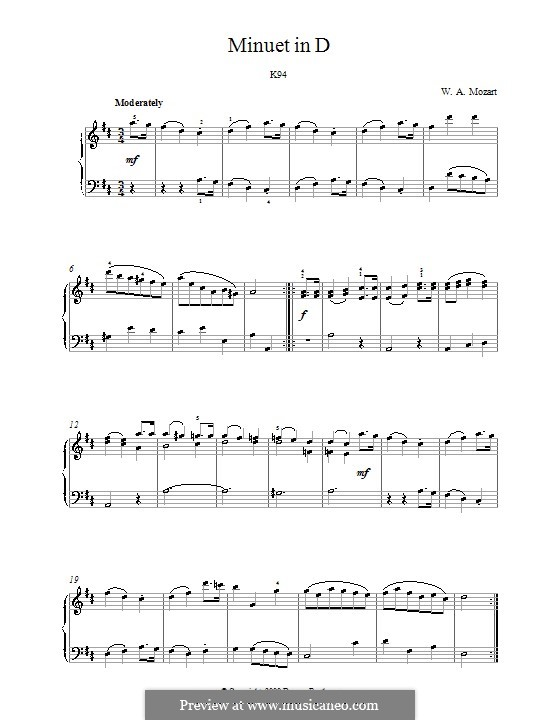 Minuet for Piano in D Major, K.94: For a single performer by Wolfgang Amadeus Mozart