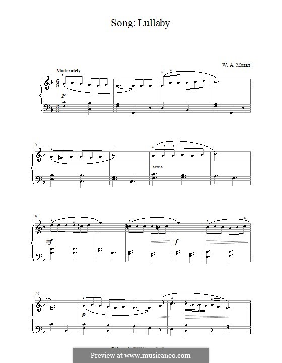 Lullaby: For piano by Wolfgang Amadeus Mozart