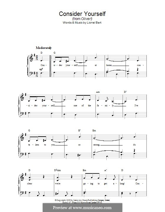 Consider Yourself (from Oliver!): For easy piano by Lionel Bart