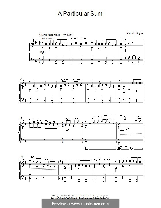 A Particular Sum (from Sense and Sensibility): For piano by Patrick Doyle