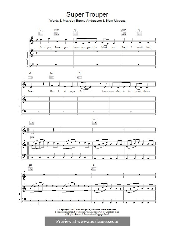 Super Trouper (ABBA) by B. Andersson, B. Ulvaeus - sheet music on ...