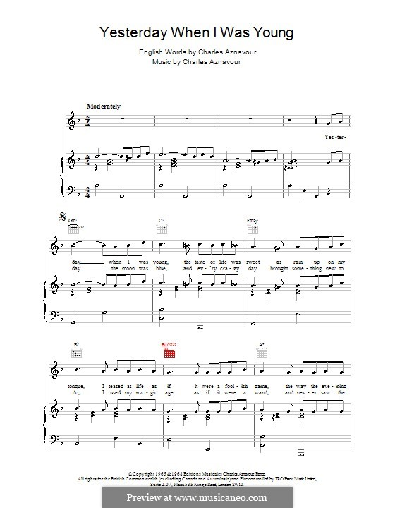 Yesterday When I Was Young by C. Aznavour - sheet music on MusicaNeo