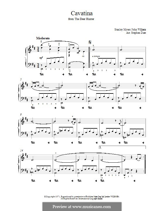 Cavatina (from The Deer Hunter): For piano by Stanley Myers