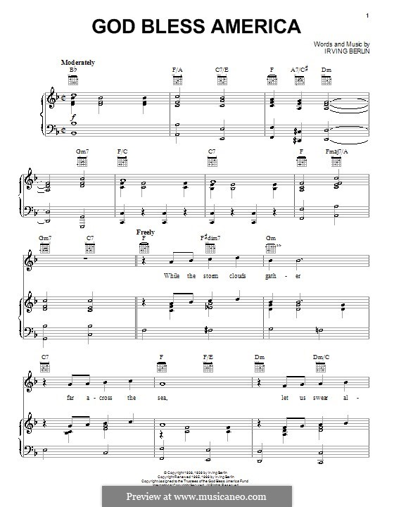 God Bless America by I. Berlin - sheet music on MusicaNeo