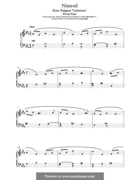 Variation No.9 'Nimrod': For easy piano by Edward Elgar