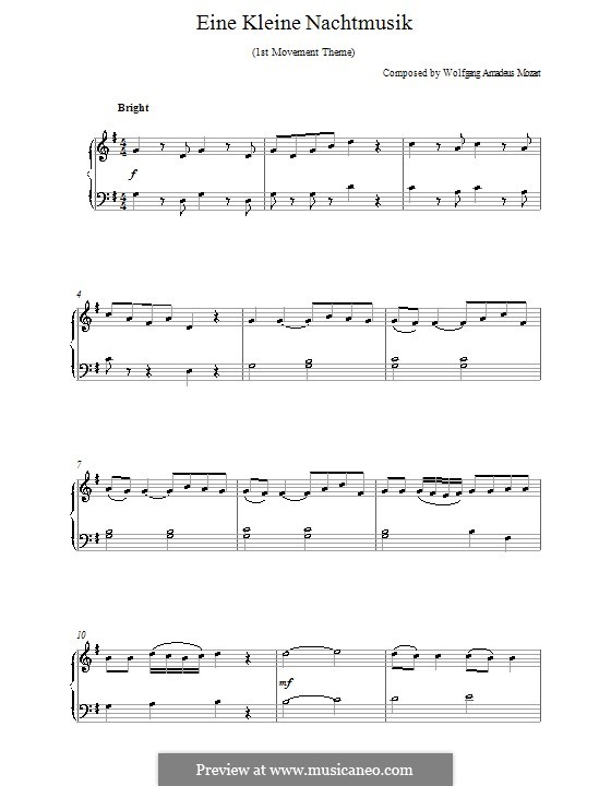 Allegro, version for piano: Theme by Wolfgang Amadeus Mozart
