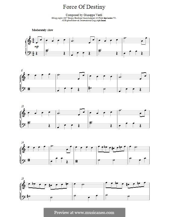 La forza del destino: Overture (Andantino), for easy piano by Giuseppe Verdi