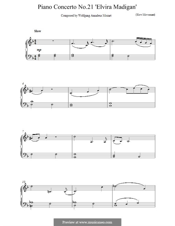 Concerto for Piano and Orchestra No.21 in C Major, K.467: Movement II (Fragment). Version for easy piano by Wolfgang Amadeus Mozart