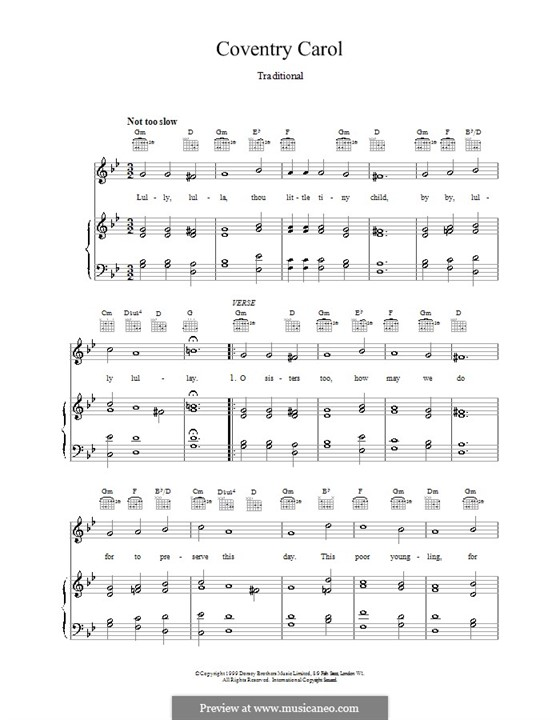 Coventry Carol: For voice and piano (or guitar) by folklore