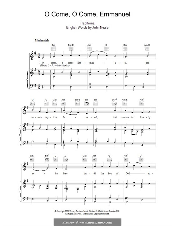 O Come, O Come, Emmanuel: For voice and piano (or guitar) by folklore