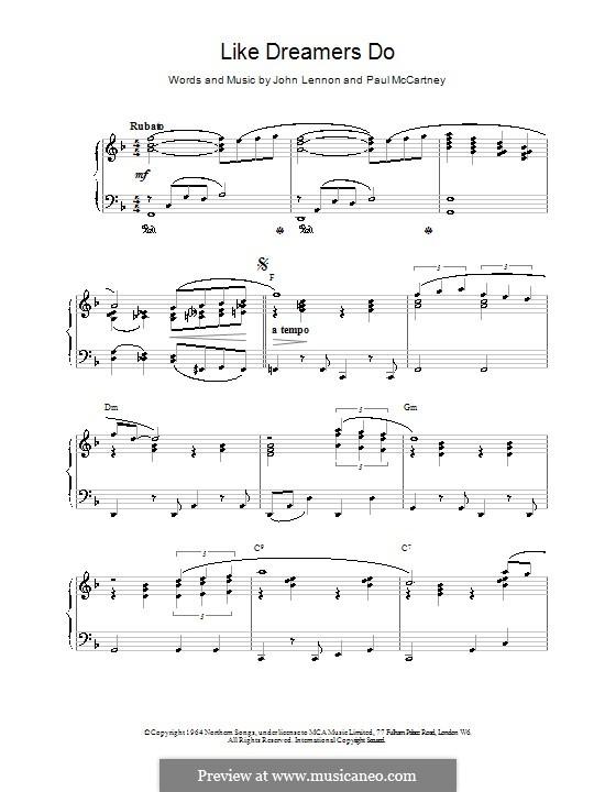 Like Dreamers Do (The Beatles): For easy piano by John Lennon, Paul McCartney