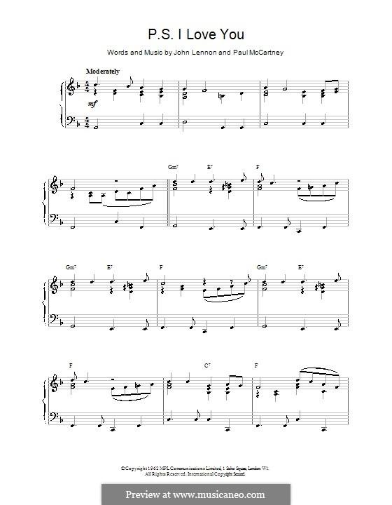 P.S. I Love You (The Beatles): For easy piano by John Lennon, Paul McCartney