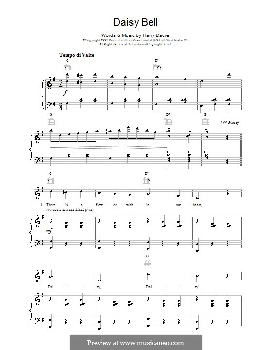Daisy Bell (Bicycle Built for Two): For voice and piano (or guitar) by Harry Dacre