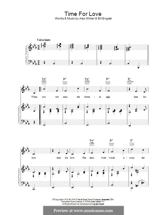Time for Love (Marlene Dietrich): For voice and piano (or guitar) by Alex Wilder, Bill Engvick
