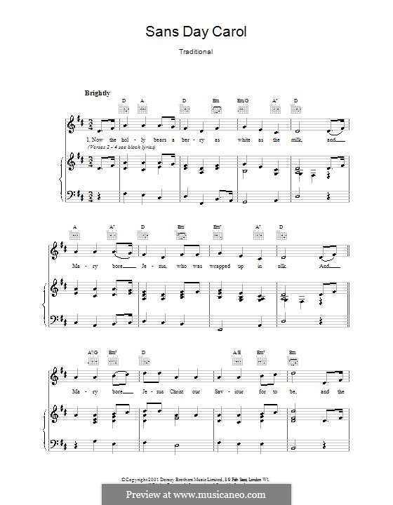 Sans Day Carol For Voice And Piano Or Guitar By Folklore: Sans Day Carol Sheet Music At Alzheimers-prions.com