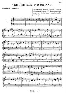 Three Ricercars for Organ: Three Ricercars for Organ by Fabrizio Fontana