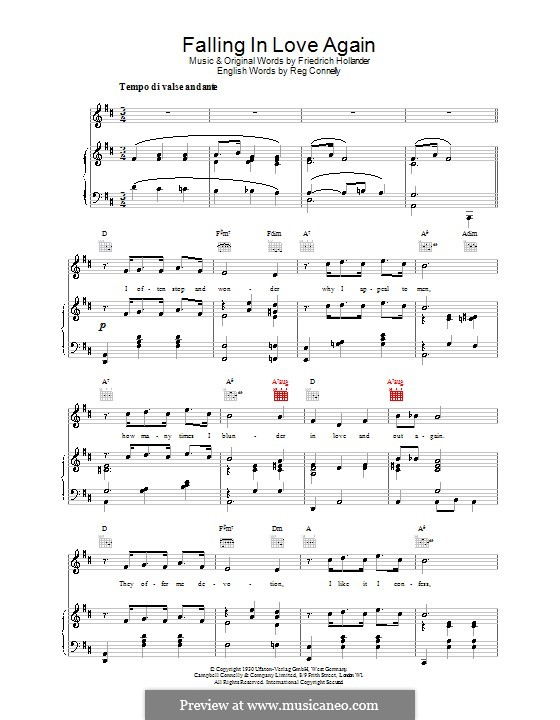 Falling in Love Again (Can't Help It): For voice and piano (or guitar) by Friedrich Holländer