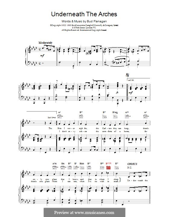 Underneath the Arches: For voice and piano (or guitar) by Bud Flanagan