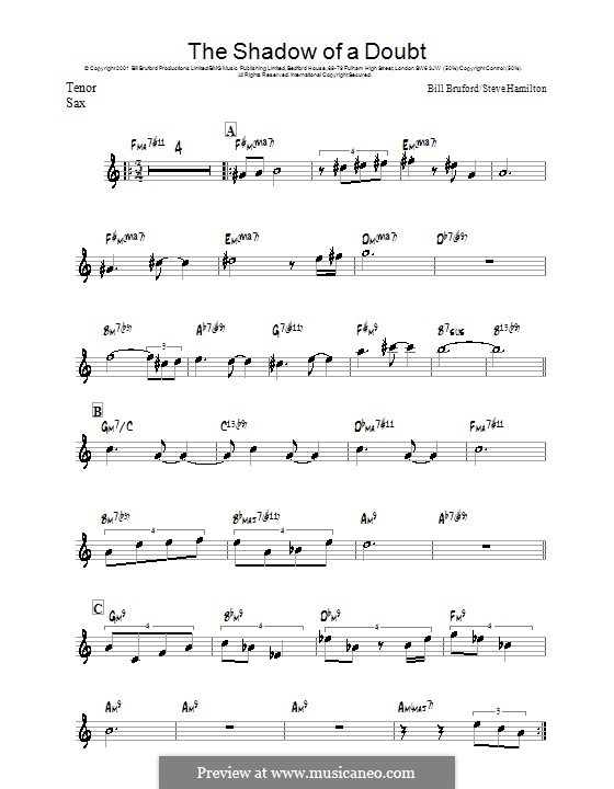 The Shadow of a Doubt: For tenor saxophone by Steve Hamilton