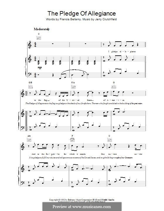 The Pledge of Allegiance (Lee Greenwood): For voice and piano (or guitar) by Francis Bellamy, Jerry Crutchfield