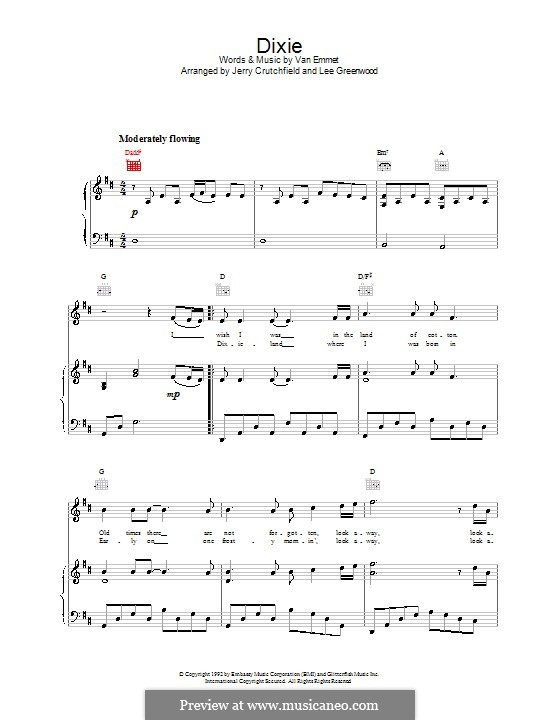 Dixie: For voice and piano (or guitar) by Daniel Decatur Emmett