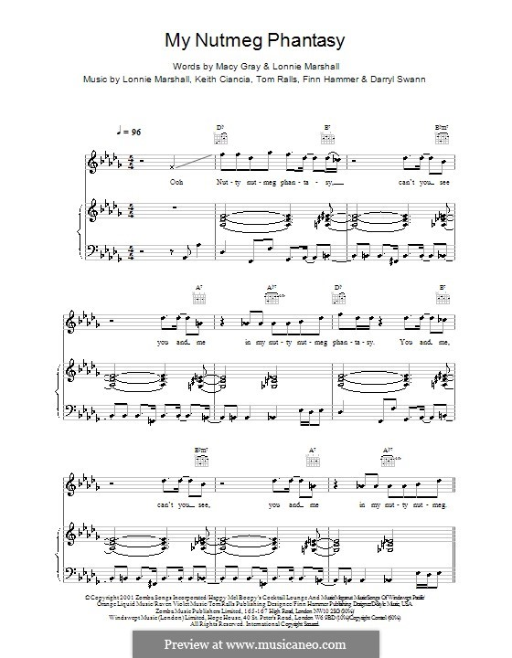 My Nutmeg Phantasy (Macy Gray): For voice and piano (or guitar) by Darryl Swann, Finn Hammer, Keith Ciancia