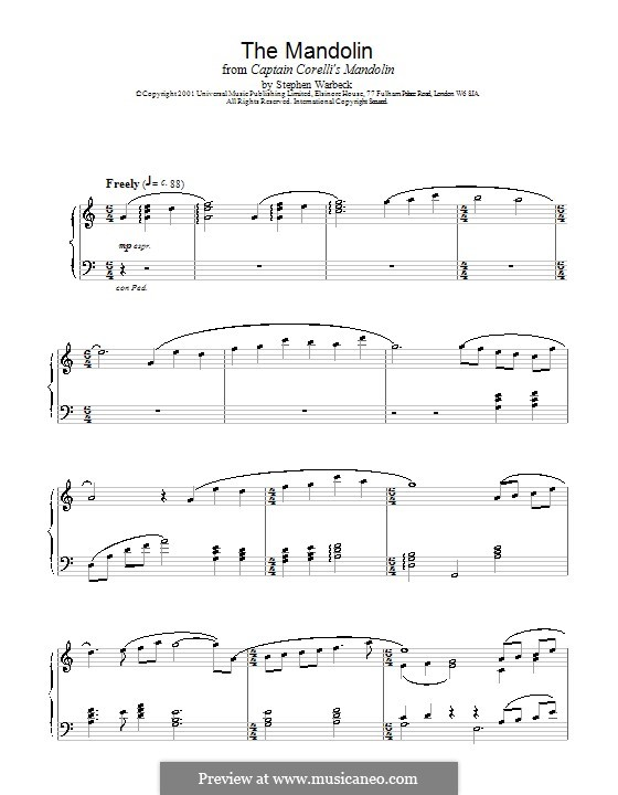 The Mandolin (from Captain Corelli's Mandolin): For piano by Stephen Warbeck