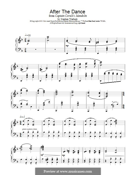 After the Dance (from Captain Corelli's Mandolin): For piano by Stephen Warbeck