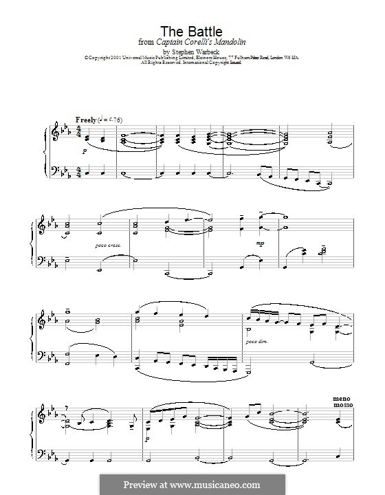 The Battle (from Captain Corelli's Mandolin): For piano by Stephen Warbeck