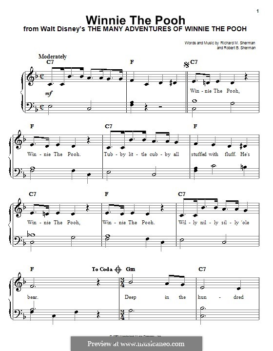 Winnie the Pooh: For easy piano by Richard M. Sherman, Robert B. Sherman