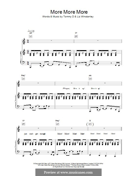 More More More (Kylie Minogue): For voice and piano (or guitar) by Liz Winstanley, Thomas Danvers