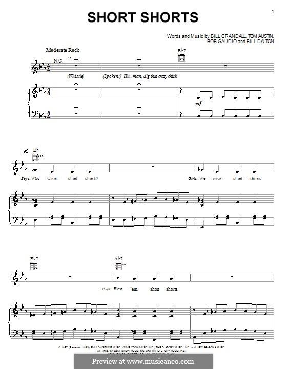 Short Shorts (The Royal Teens): For voice and piano (or guitar) by Bill Crandall, Bill Dalton, Bob Gaudio