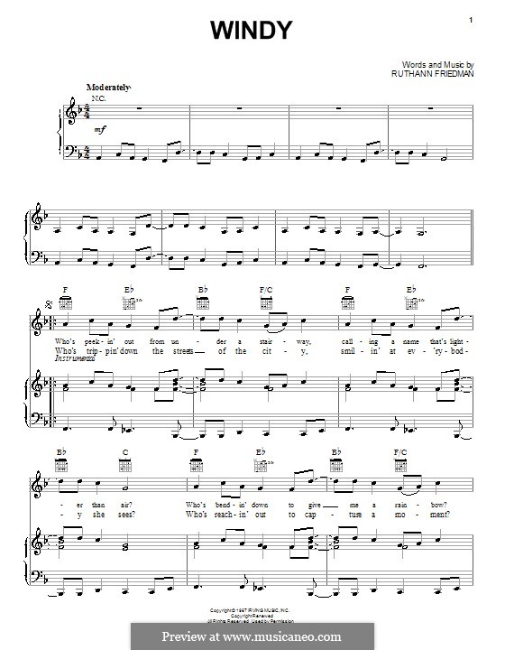 Windy (The Association): For voice and piano (or guitar) by Ruthann Friedman