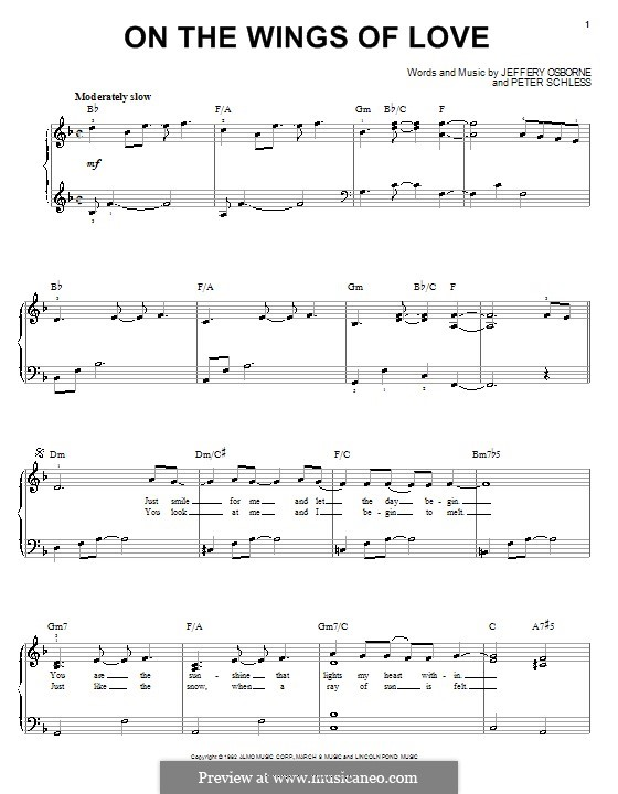 On the Wings of Love: For easy piano by Peter Schless