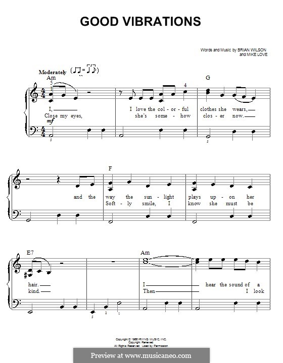 Good Vibrations (The Beach Boys): For easy piano by Brian Wilson, Mike Love