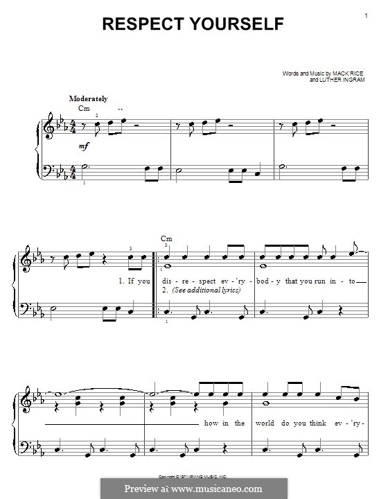 Respect Yourself (The Staple Singers): For easy piano by Mark Rice, Luther Ingram