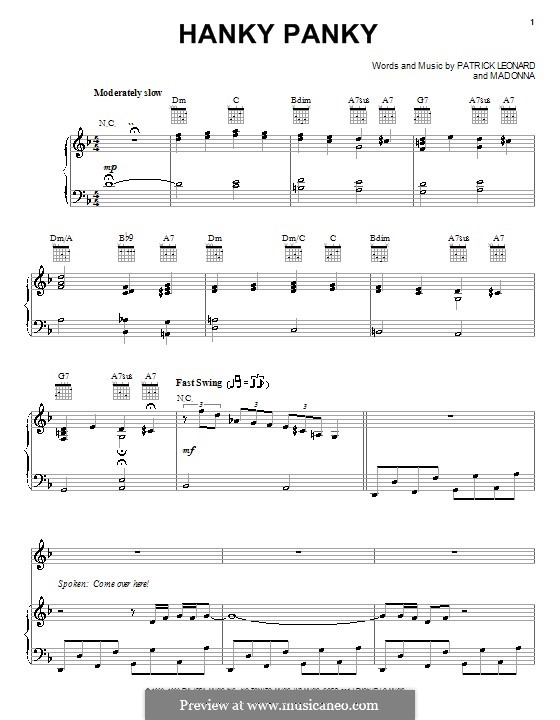 Hanky Panky (Madonna): For voice and piano (or guitar) by Patrick Leonard