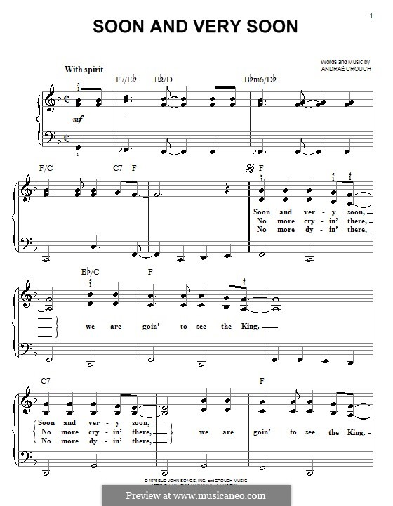 Soon and Very Soon: For easy piano by Andrae Crouch