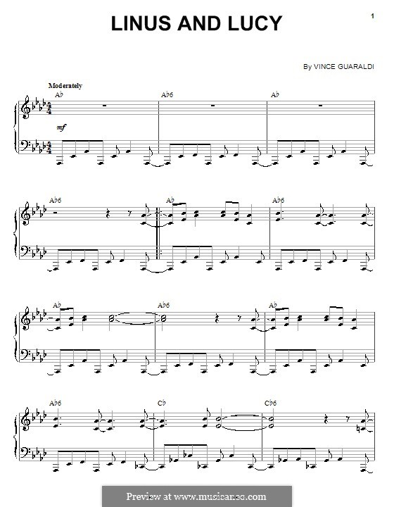 Linus and Lucy (from A Boy Named Charlie Brown): For piano (with chords) by Vince Guaraldi